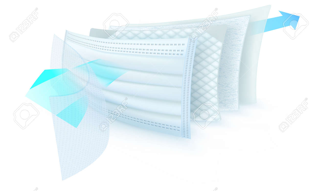 three layer mask internal view to stop dust and germs particle - 144833667
