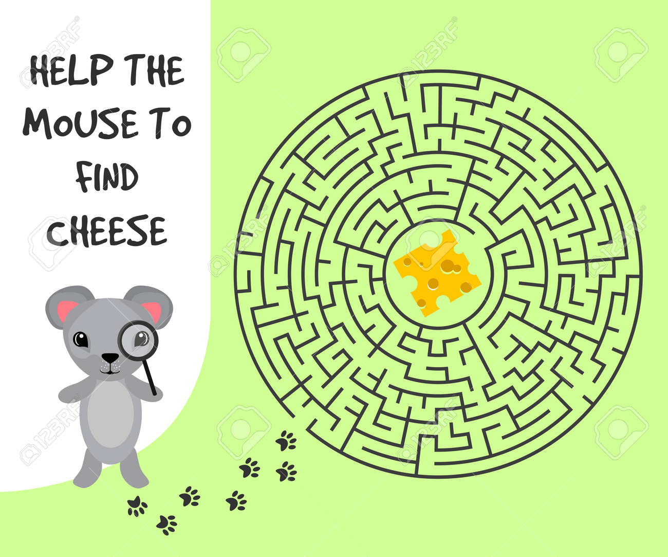 circular education maze or labyrinth game for children with mouse