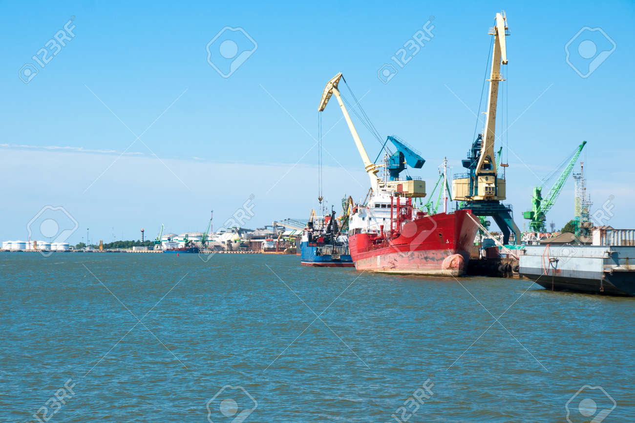 Port of Klaipeda in the Baltic Sea on sunny summer day, Lithuania - 90846751
