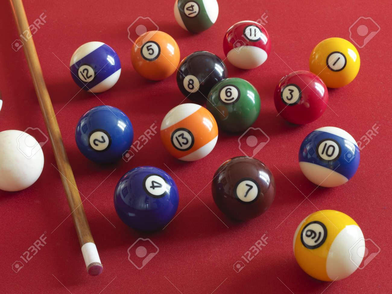 Numbered Balls On A Billiard Table With The Red Carpet Stock Photo   8921598