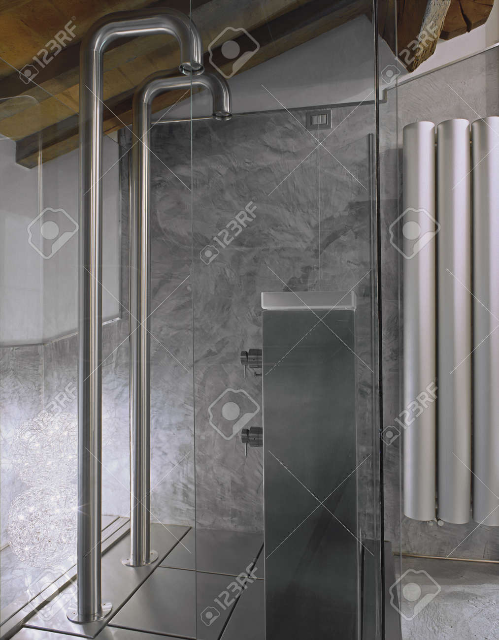 Detail Of Glass Shower Cubicle In The Attic Room Stock Photo ...
