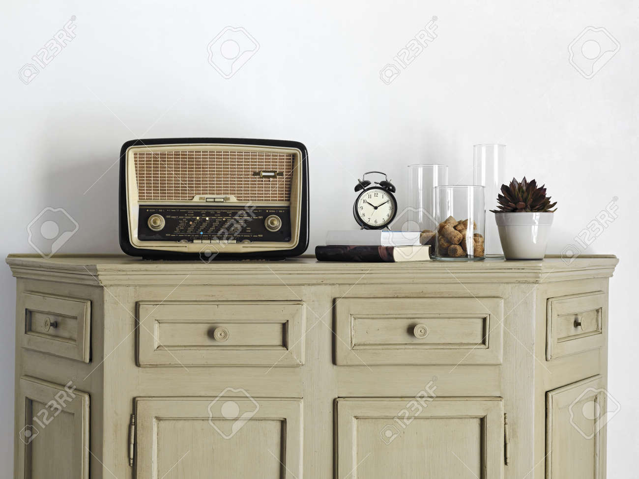 old radio on old furniture Stock Photo - 15601040