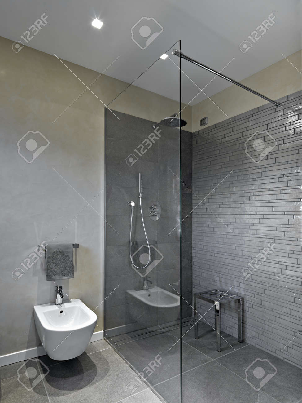 shower cabin in a modern bathroom stock photo picture and royalty