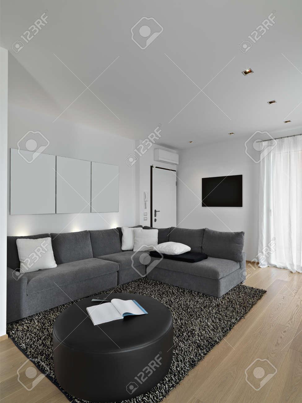 Vävnads soffa i ett modernt vardagsrum med trägolv och matta ...