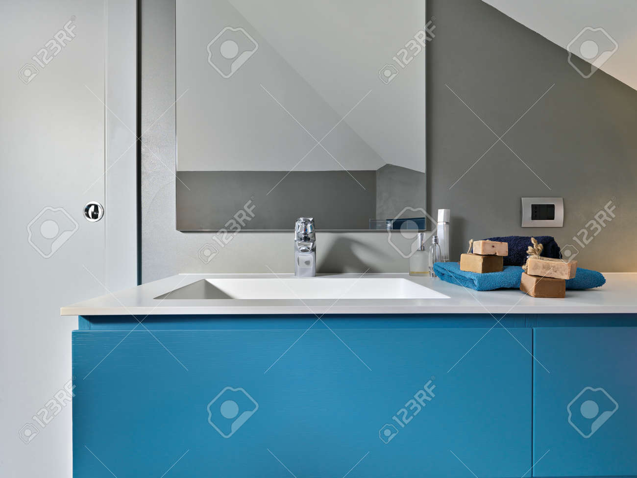 detail of blue furniture  of the washbasin in a modern bathroom Stock Photo - 24098206