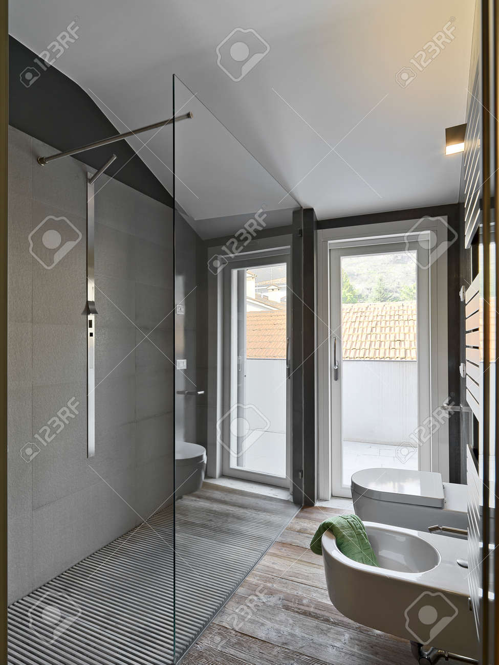 Glass Shower Cubicle In A Modern Bahtroom And Sanitary Ware Stock ...