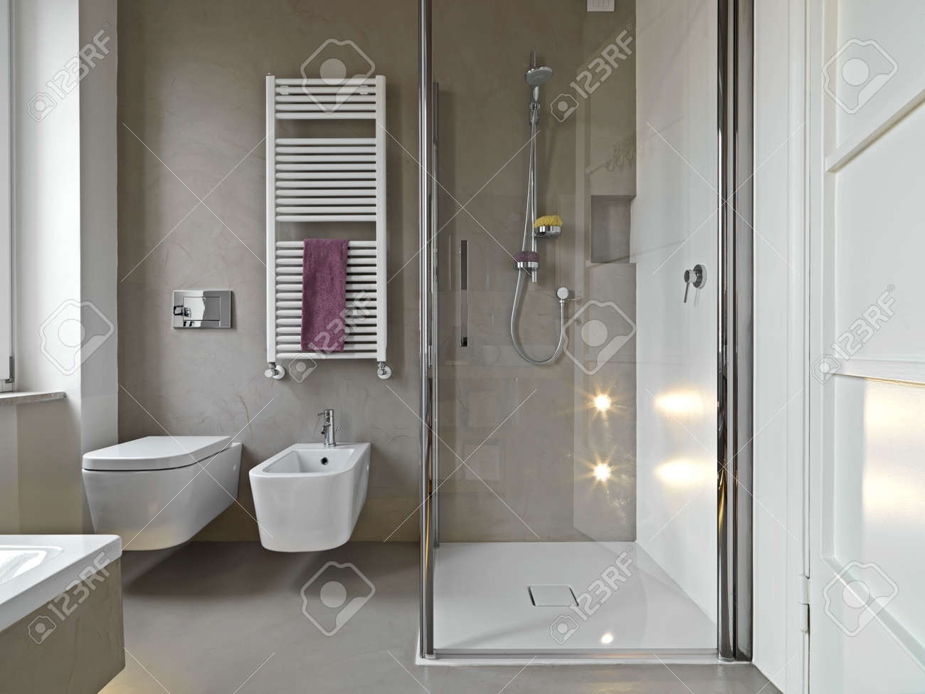 view of saanitayware and shower cubile in a modern bahtroom Standard-Bild - 30779321