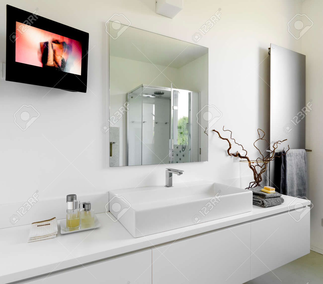 Detail Of Washbasin In A Modern Bathroom With Television And.. Stock ...