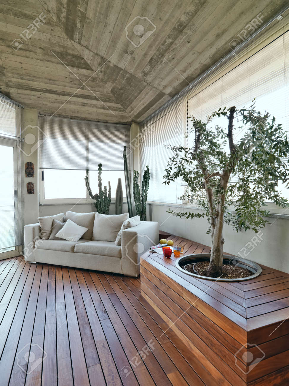 Superb Modern Terrace With Sofa And Wood Floor Stock Photo   39437210