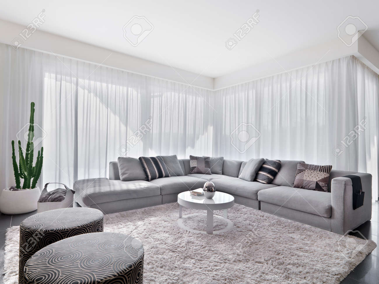 Modern Sofa With Carpet In The Living Room Stock Photo, Picture ...