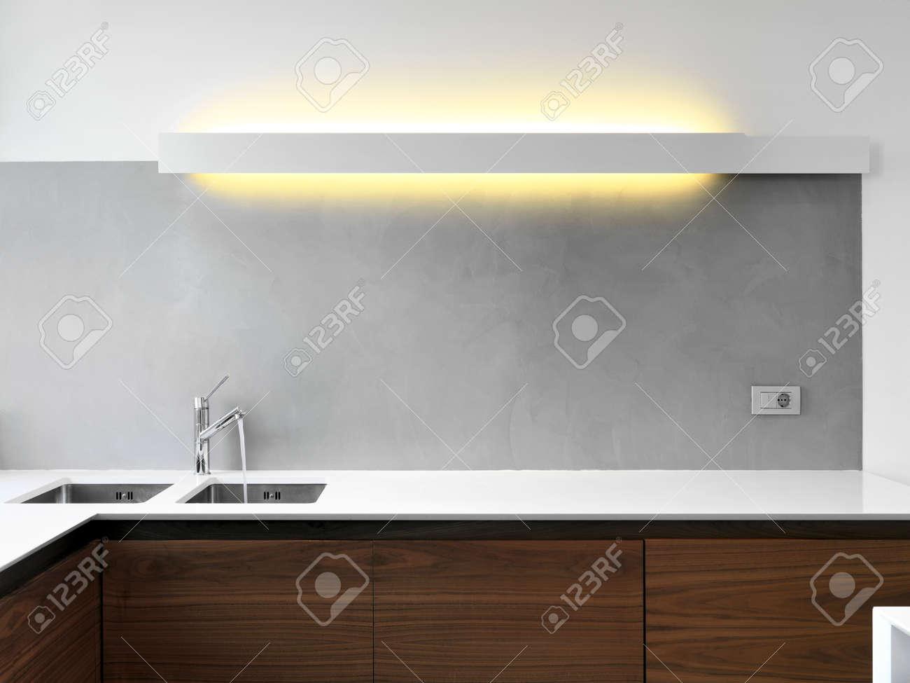 inerior view of a modern kitchen foreground on the sink Standard-Bild - 49755052