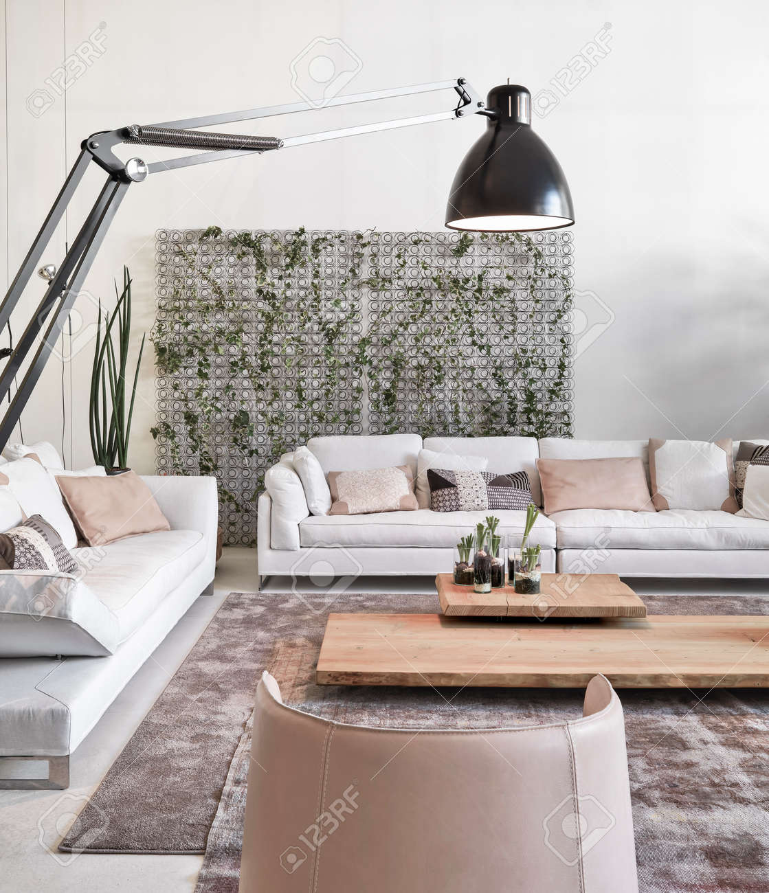 Détail de canapé en cuir et un fauteuil dans le salon moderne