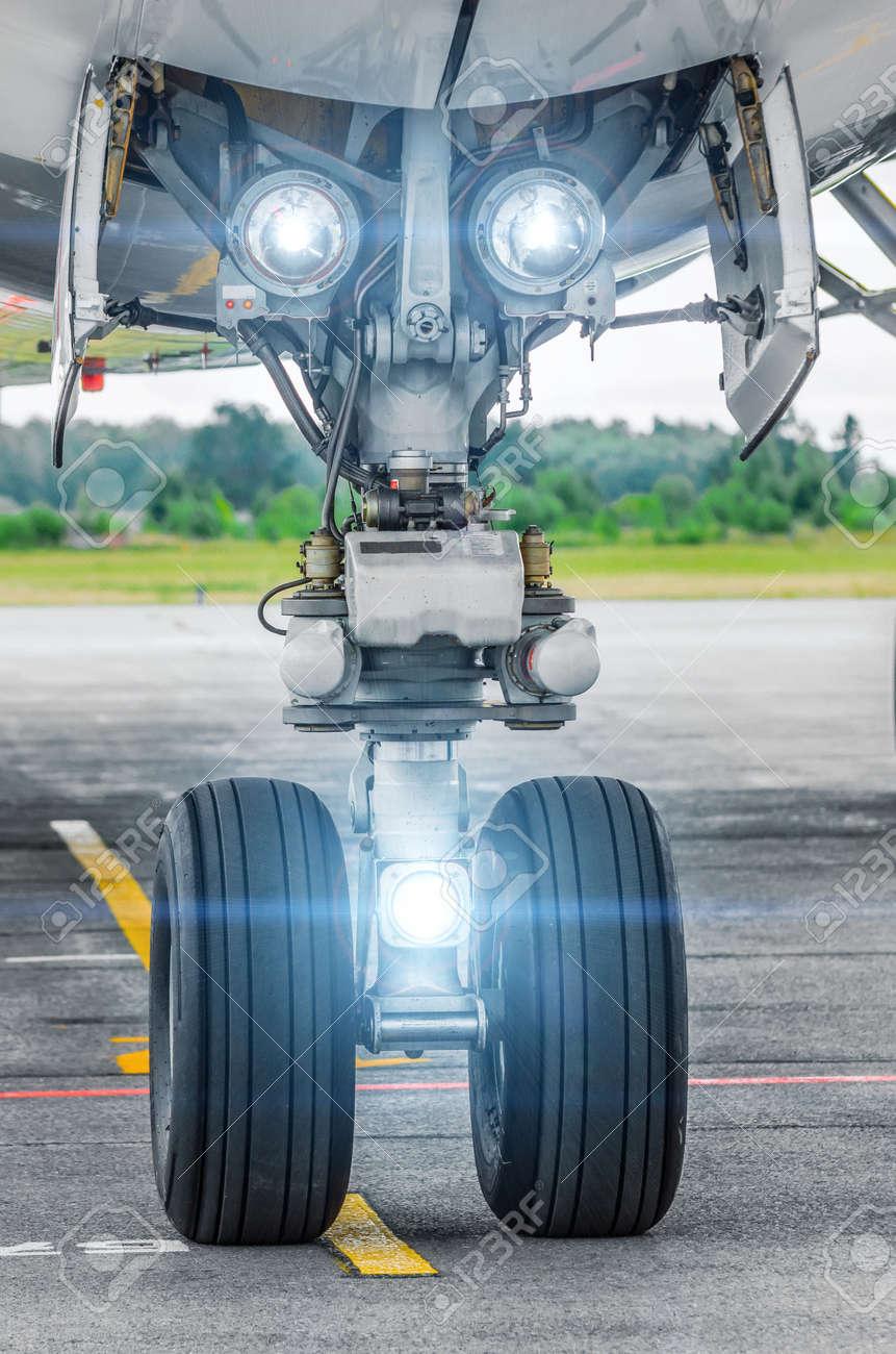 Aircraft landing gear and landing lights lights on