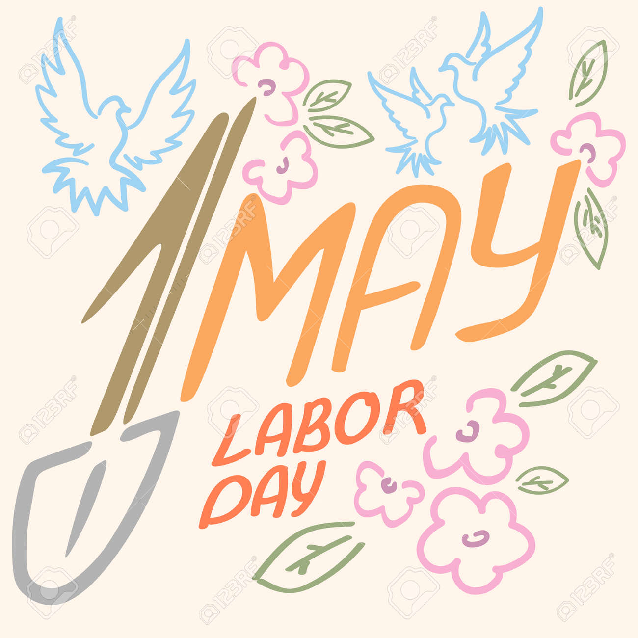 May 1 Labor Day Logo Symbol Of Pigeon Spring Flowers Spade Holiday