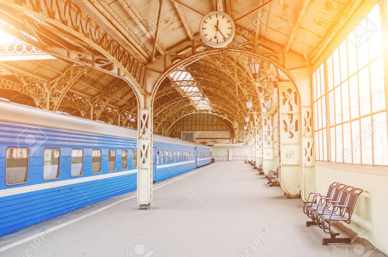 Vintage Retro Platform Passenger Railway Station Concept Of Stock