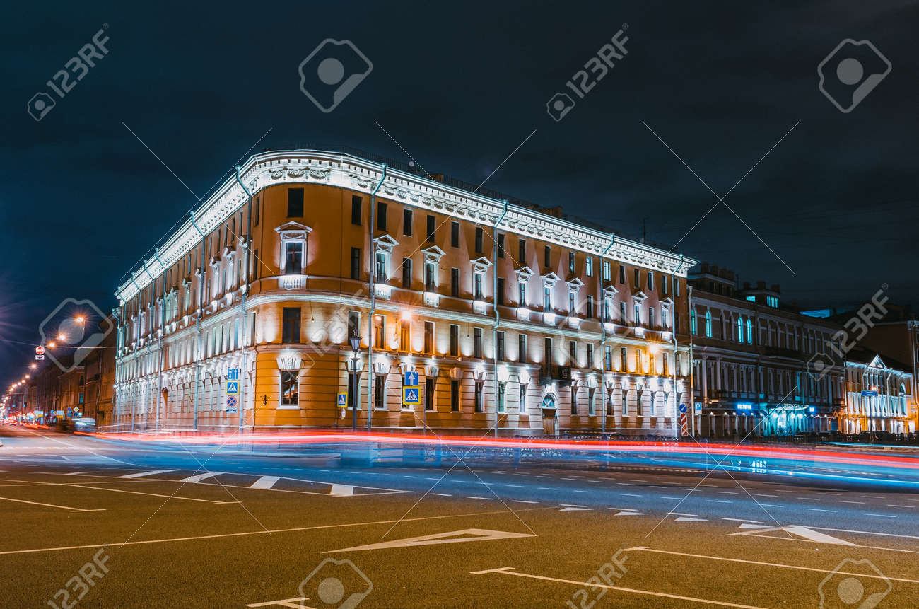Automobile Flow In The Center Of The City   Lights, Night Lights Stock  Photo