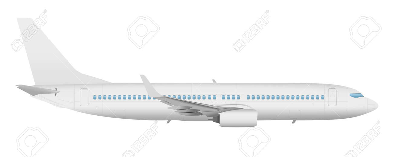 airplane template side view on a isolated white background stock