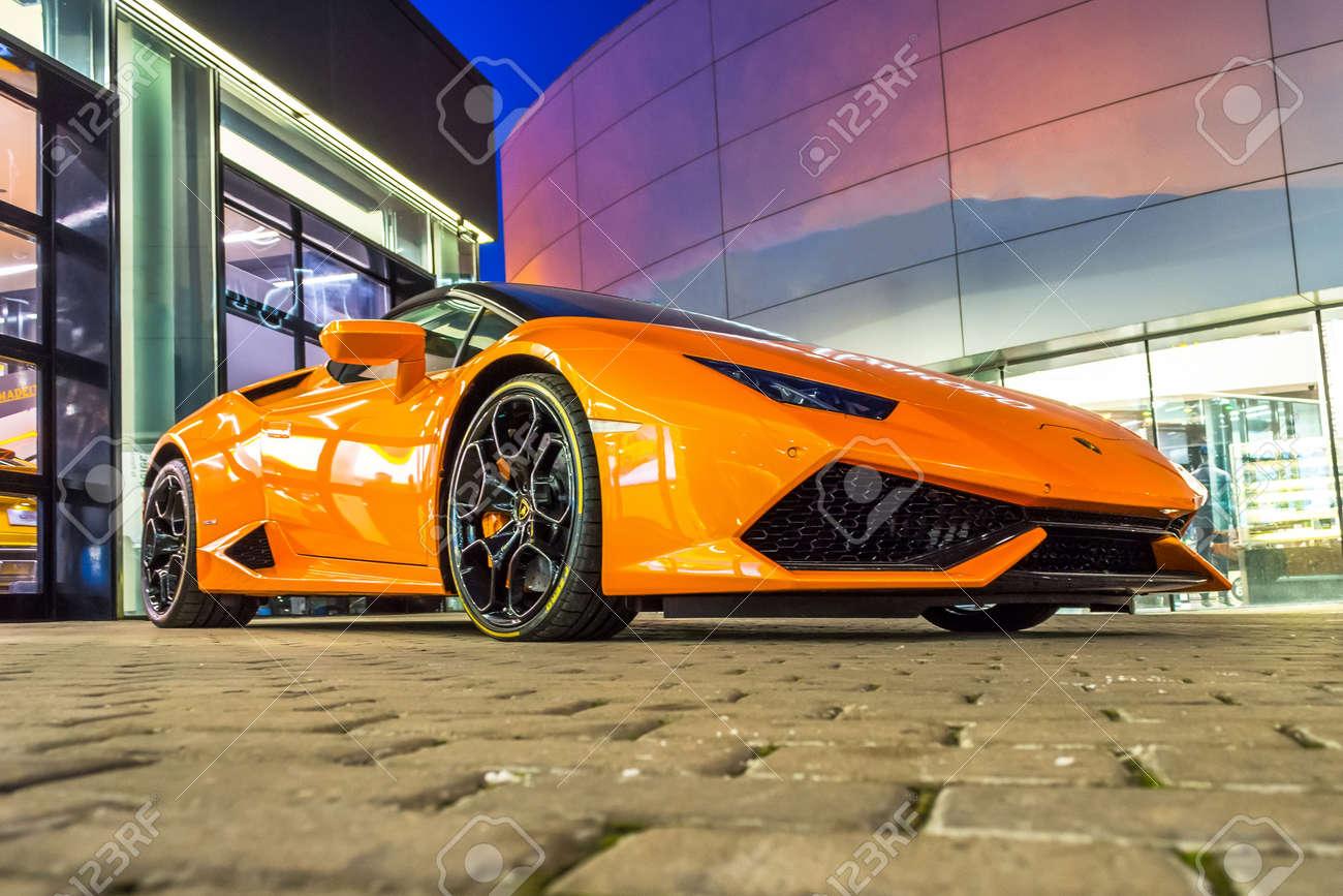Supercar Lamborghini Huracan Orange Color Parked At The Car