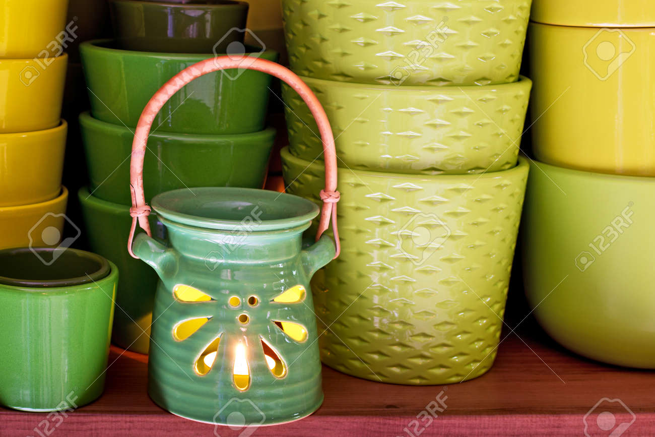New Ceramic Flowerpots In The Florist Store Stock Photo Picture And