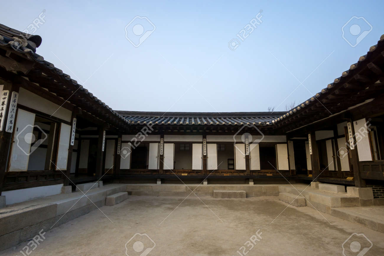 Namsangol Hanok Village Scenery In Seoul South Korea Traditional Korean Architecture Houses Stock Photo
