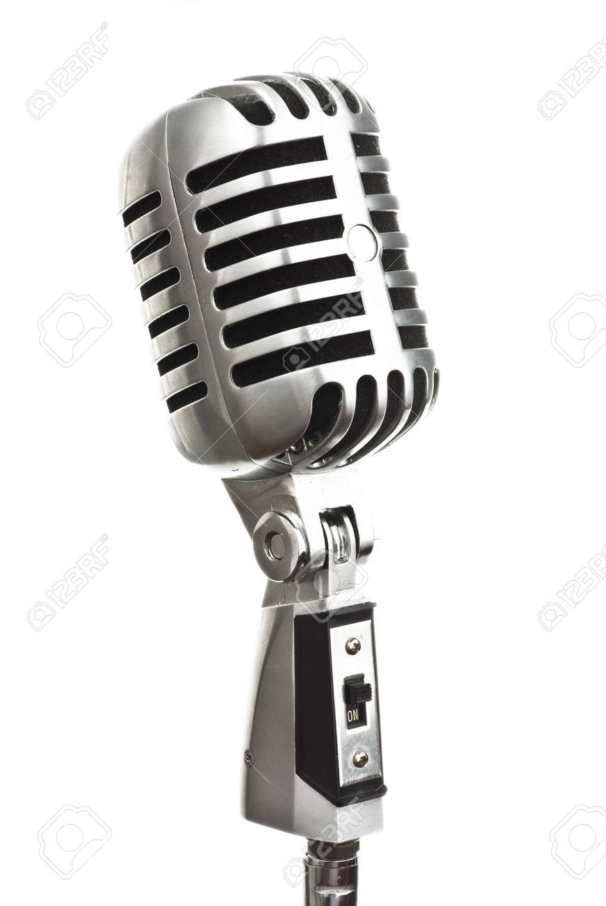vintage metal microphone on white background Stock Photo - 5169568