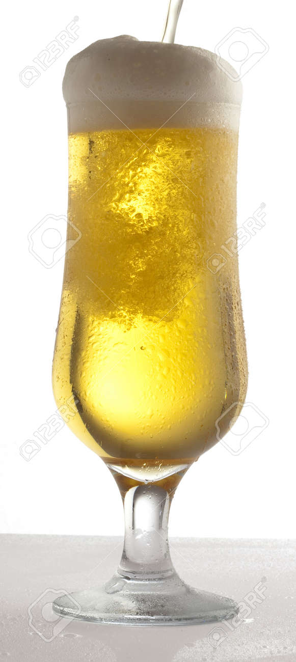 beer on glass on a white background Stock Photo - 8574161