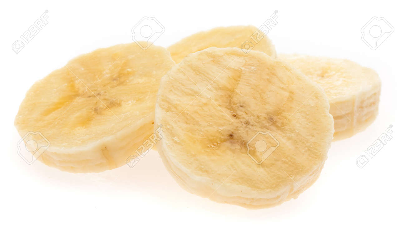 banana slices isolated on a white background Stock Photo - 8706517
