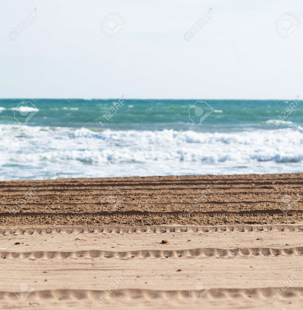mark of truck on the sand closeup Stock Photo - 8770973