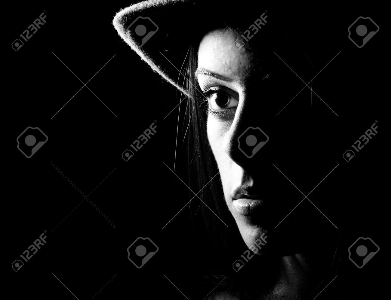 Stock photo women black and white face portrait closeup