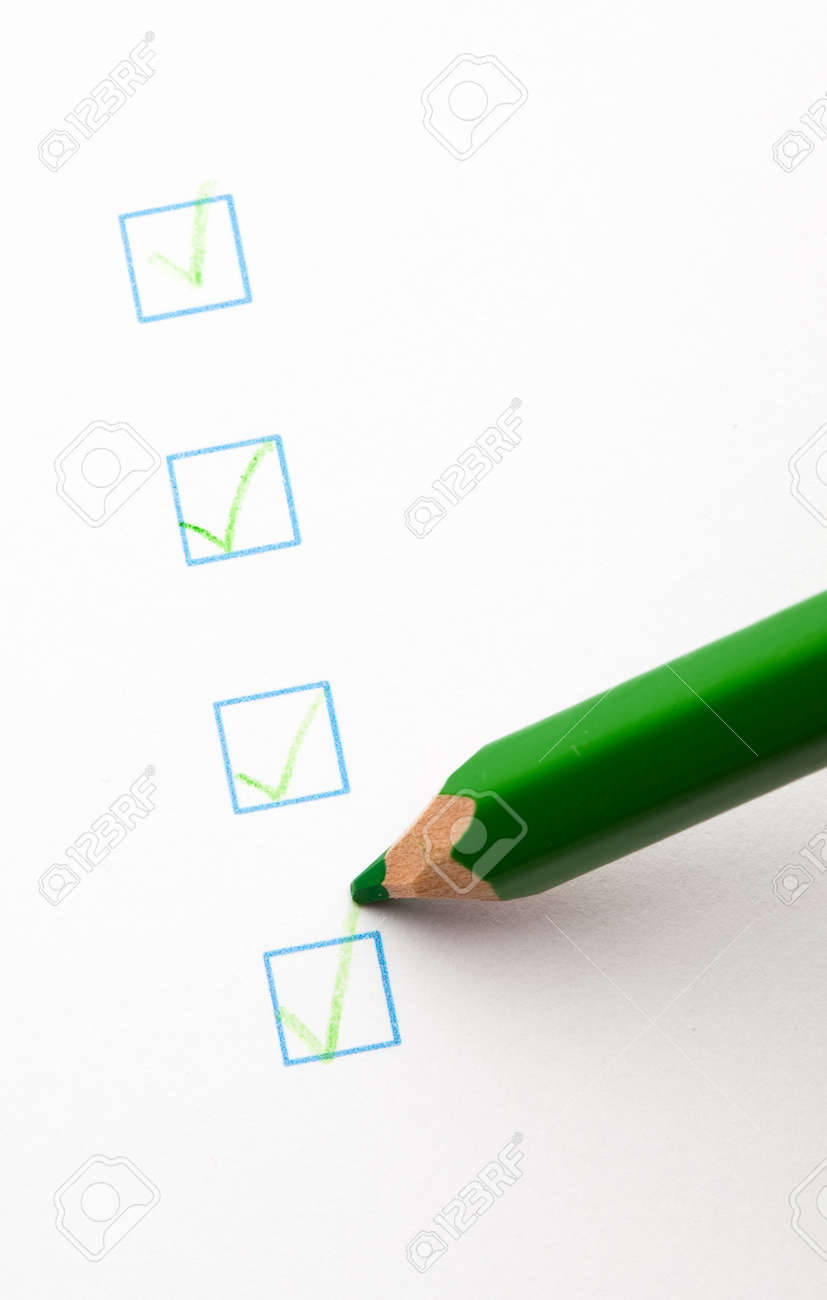 quetionnaire check boxes and green pecil, closeup Stock Photo - 8849755
