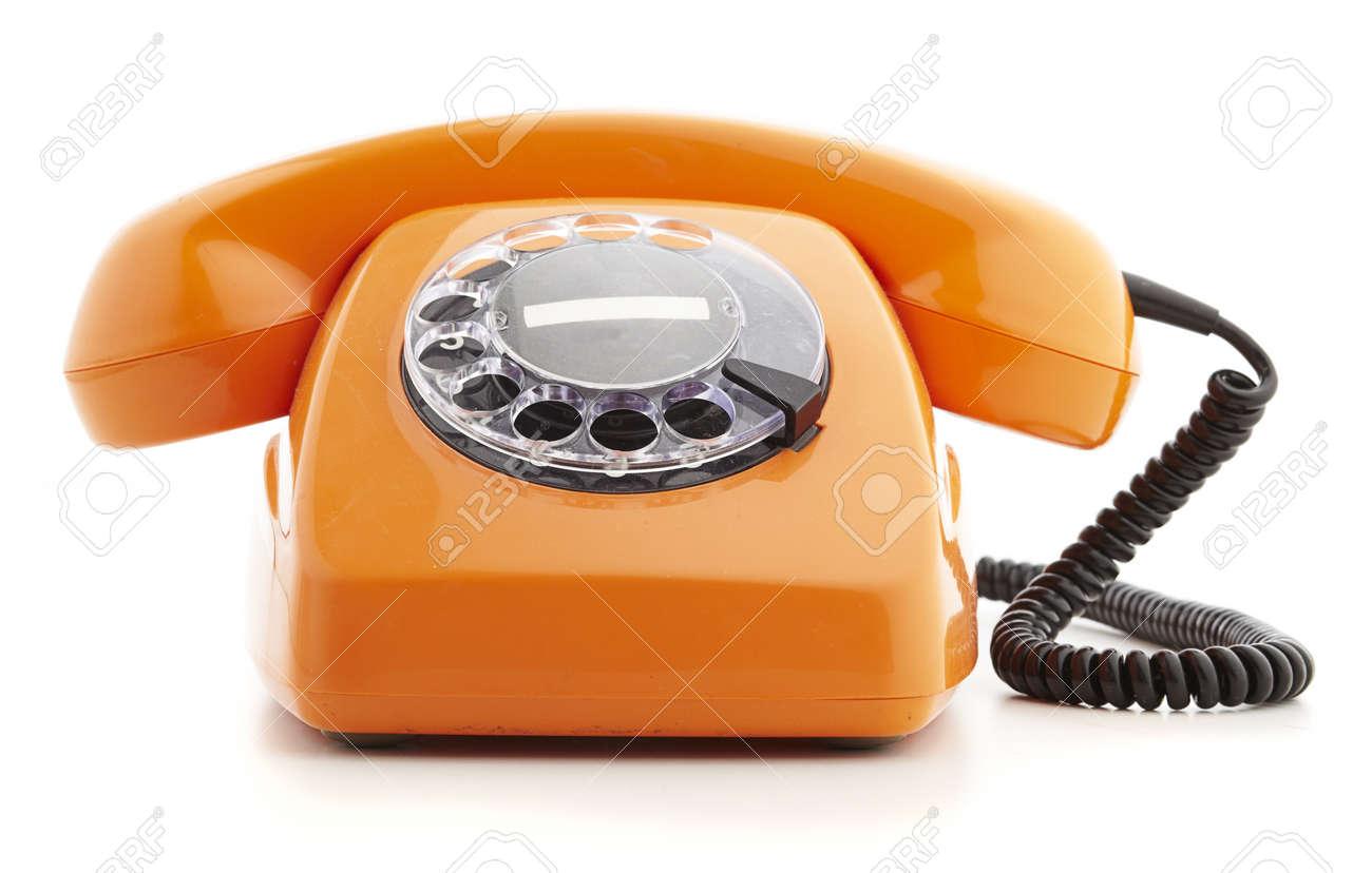 orange vintage telephone isolated on white Stock Photo - 10973642