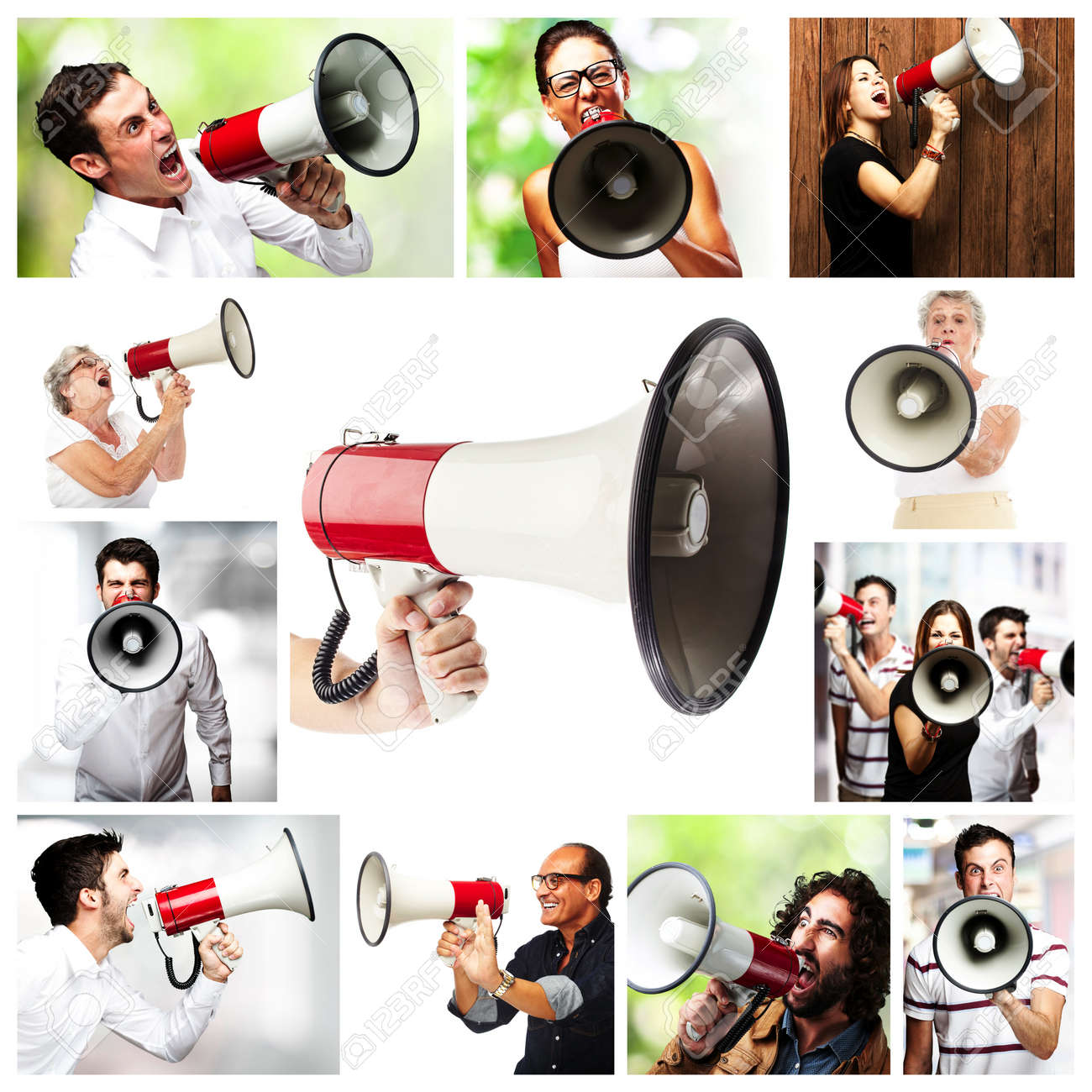group of different people shouting with a megaphone Stock Photo - 13486467