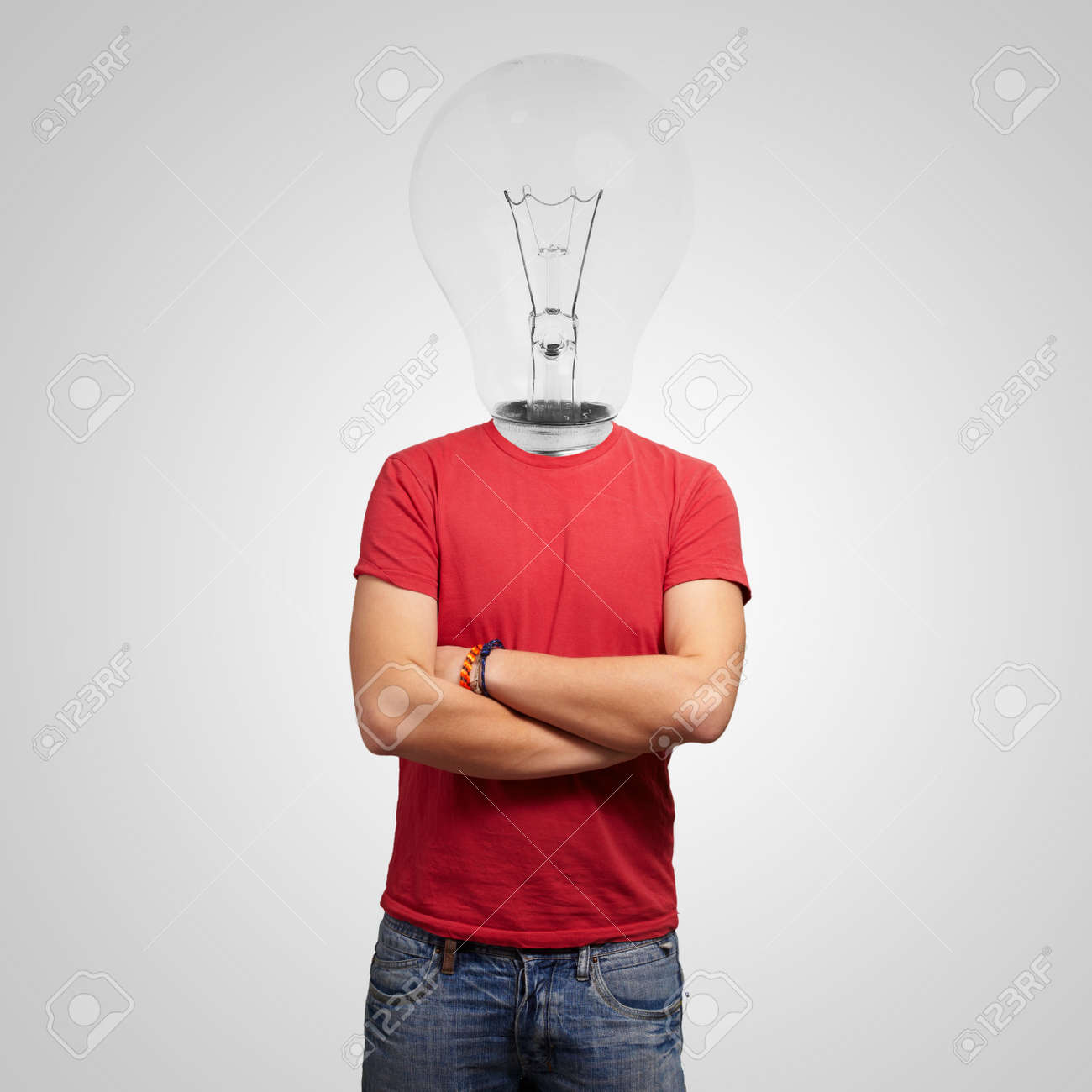 Portrait Of Man With Light Bulb Head Stock Photo - 13188794