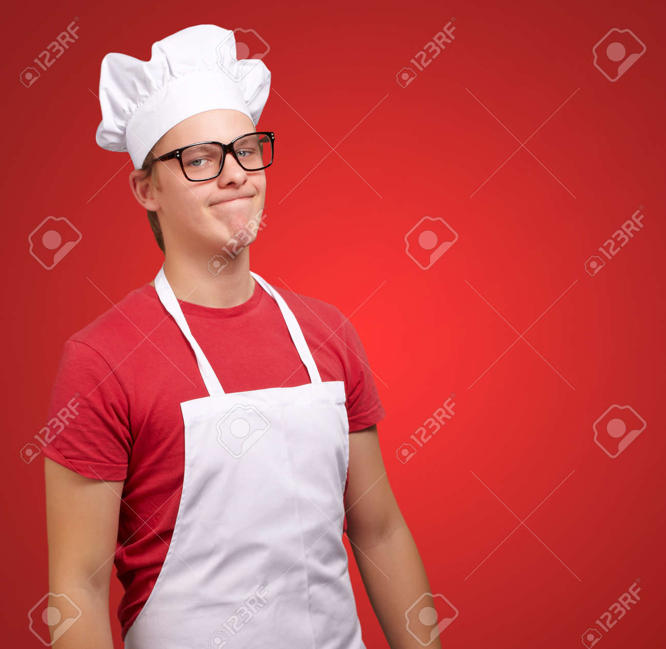 Portrait Of A Unhappy Man On Red Background Stock Photo - 15106204