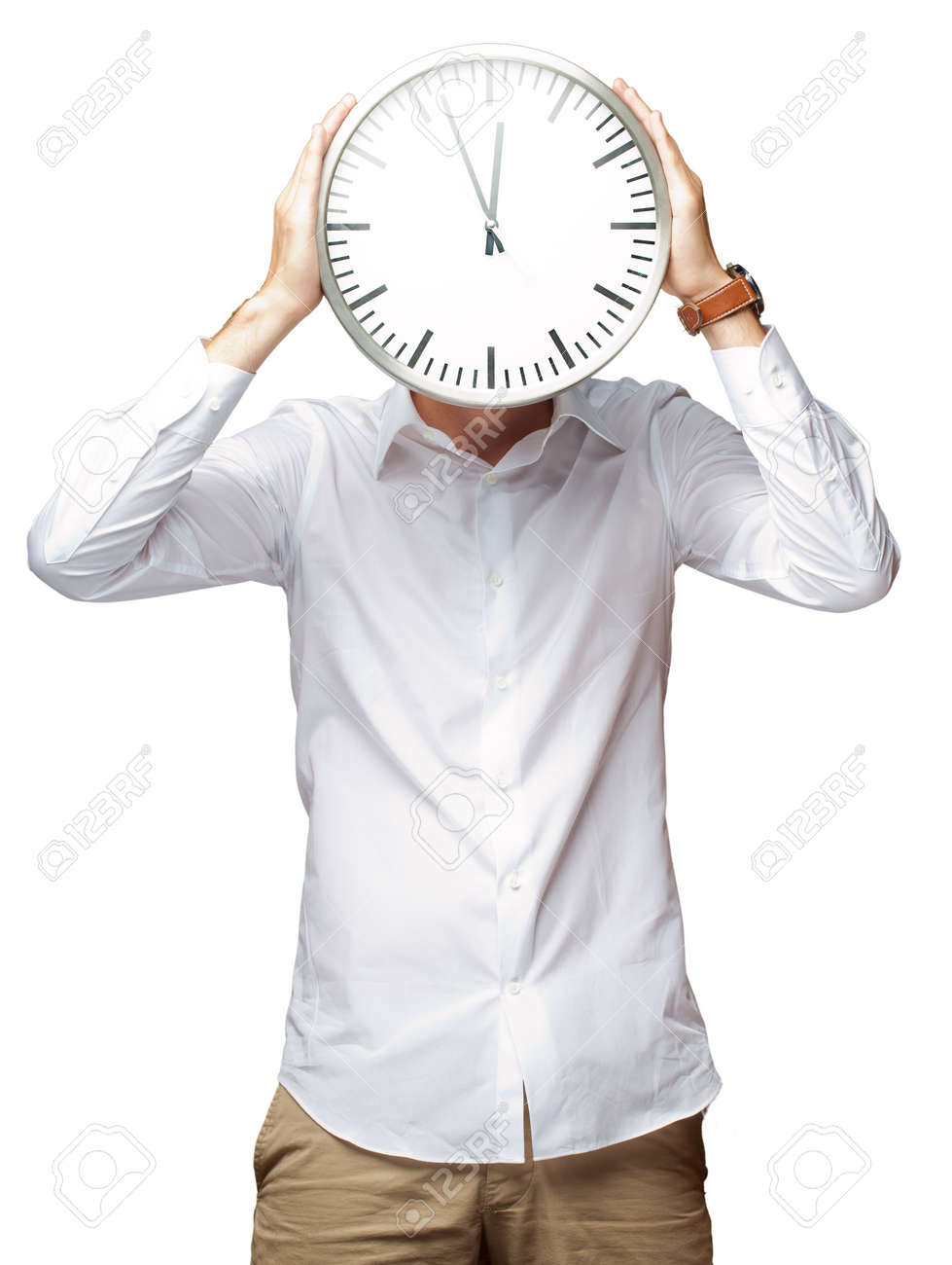 Young Man Holding Big Clock Covering His Face On White Background Stock Photo - 15851179