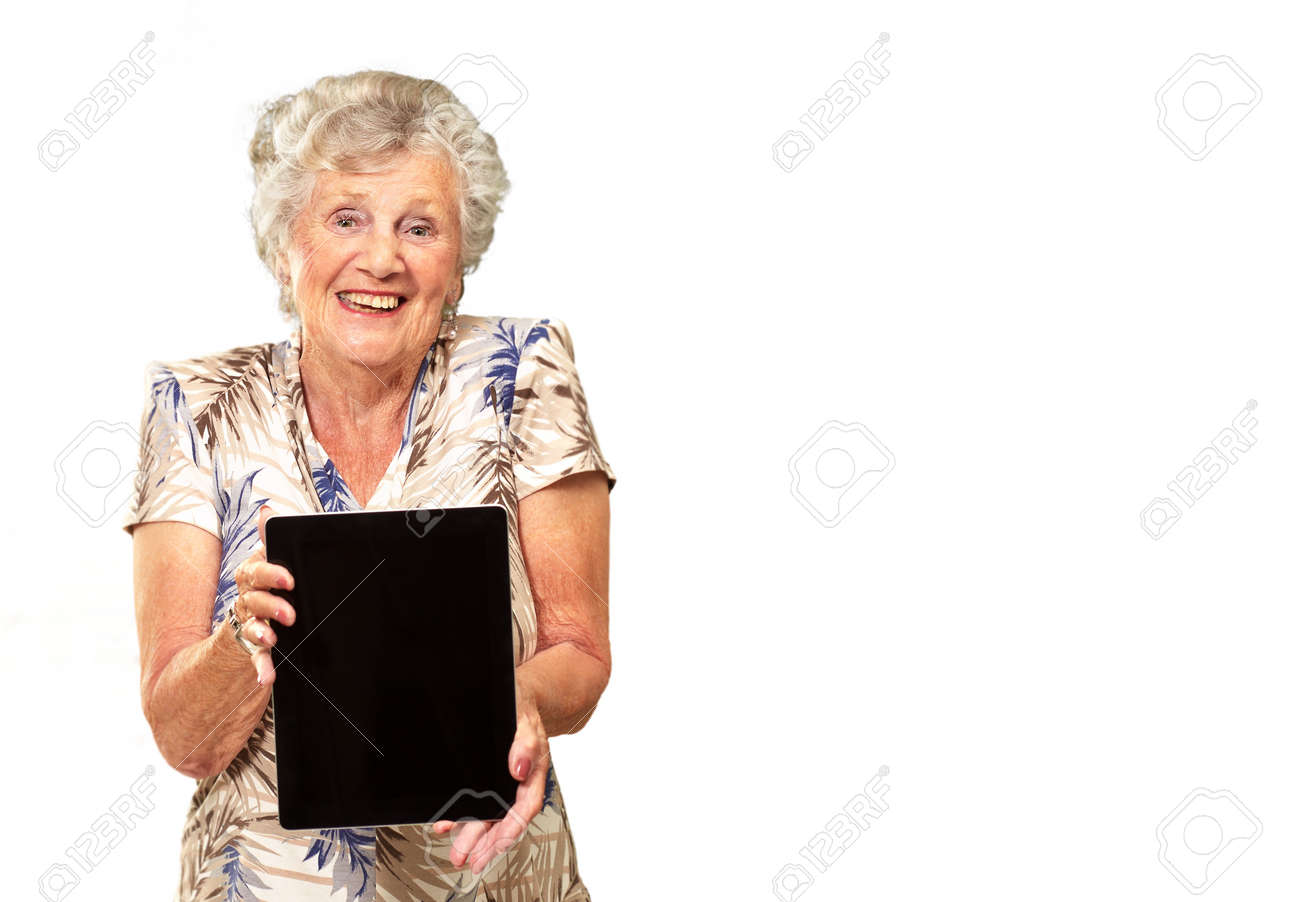 Portrait Of A Senior Woman Holding A Digital Tablet On White Background - 16140030