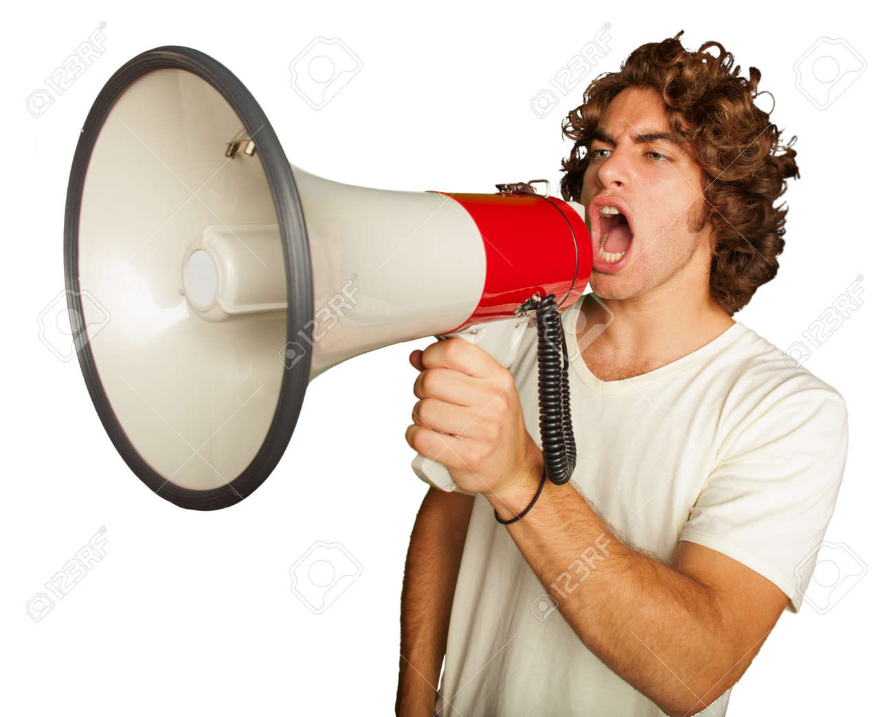 Portrait Of A Handsome Young Man Shouting With Megaphone On White Background - 16303955