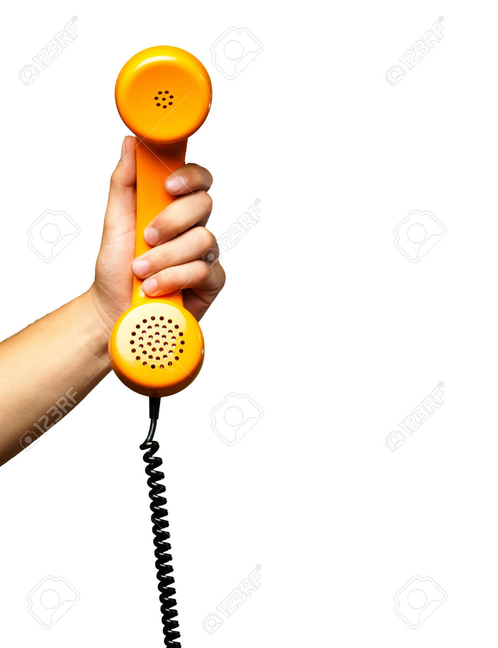 Close Up Of Hand Holding Telephone against a white background - 16686854