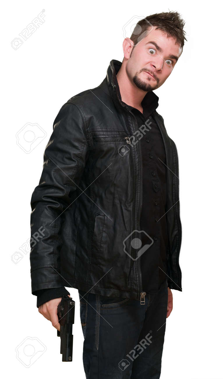 crazy man holding a gun against a white background Stock Photo - 16672507
