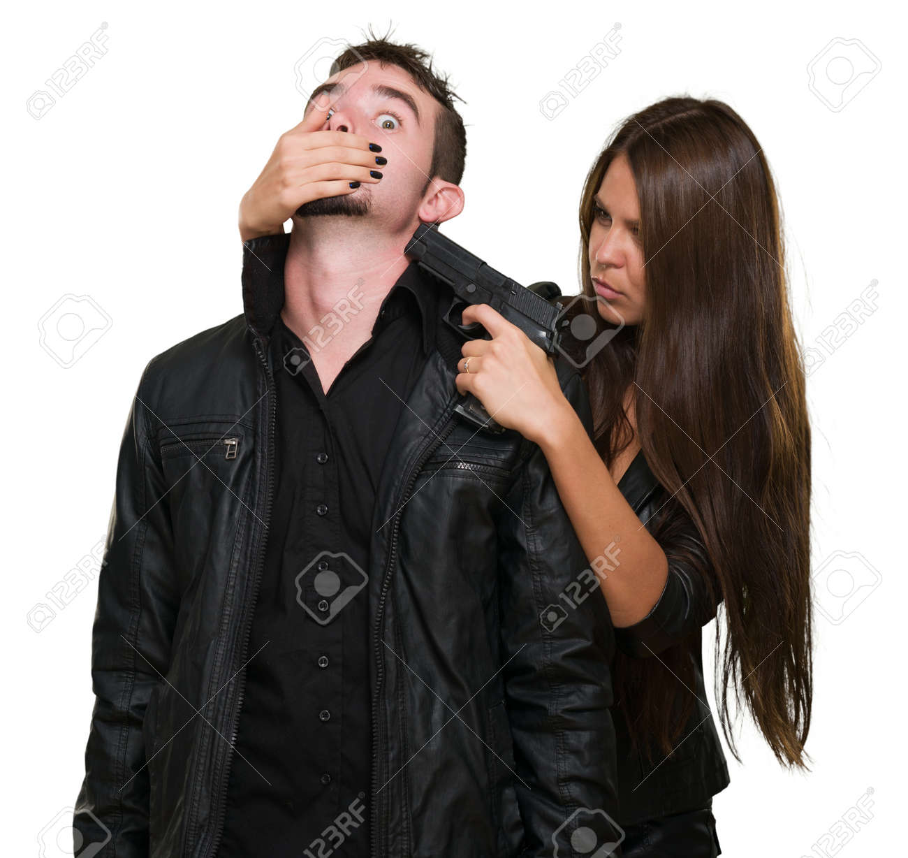 Criminal With A Gun Threatening Young Woman On White Background Stock Photo - 16672523