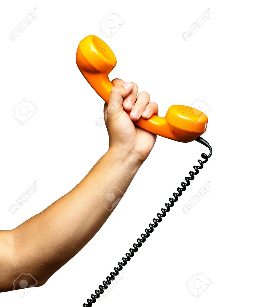 Close Up Of Hand Holding Telephone On White Background - 18554934