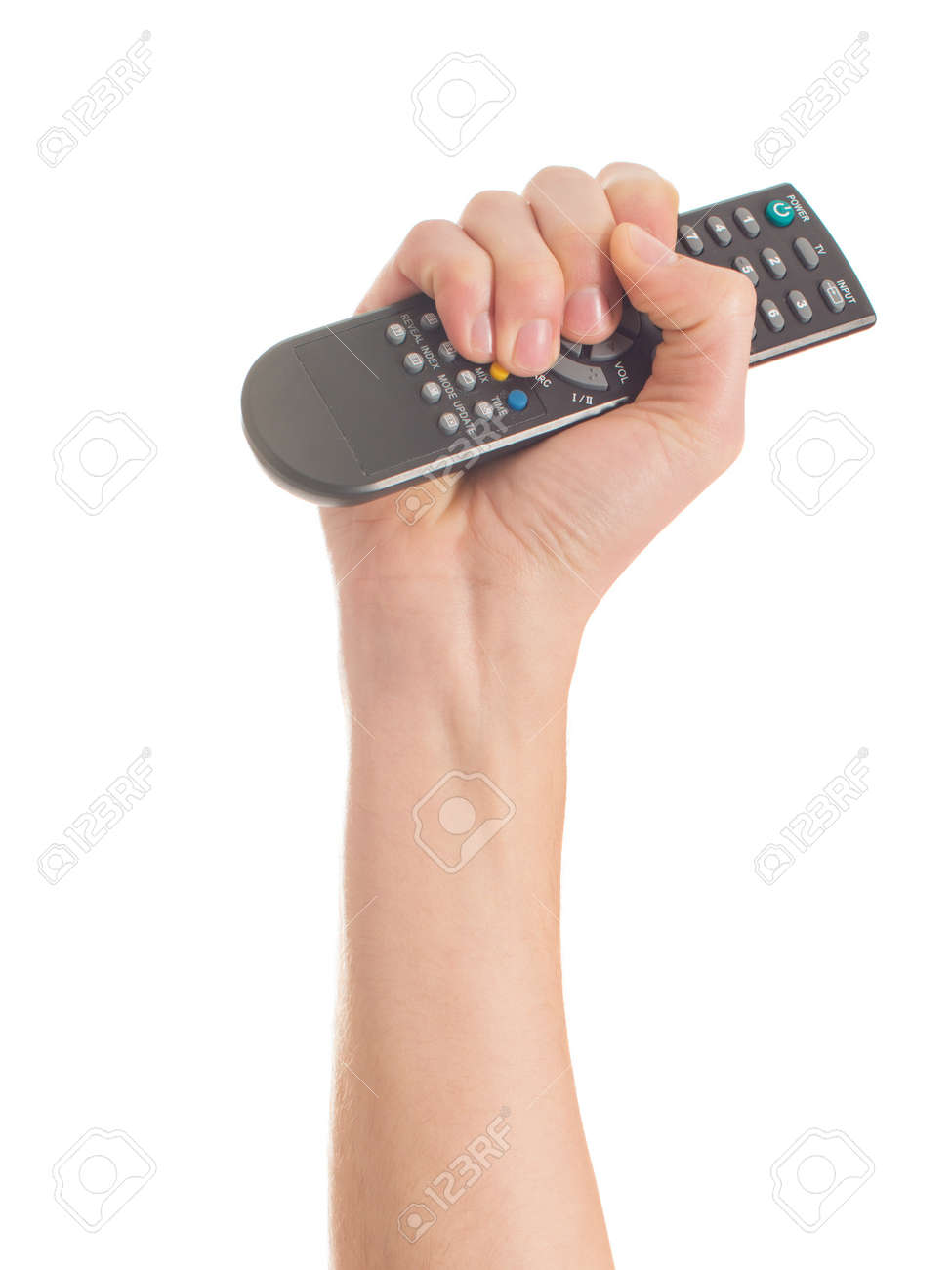 Close-up Of Human Hand Holding Remote Control On White Background Stock Photo - 22036784