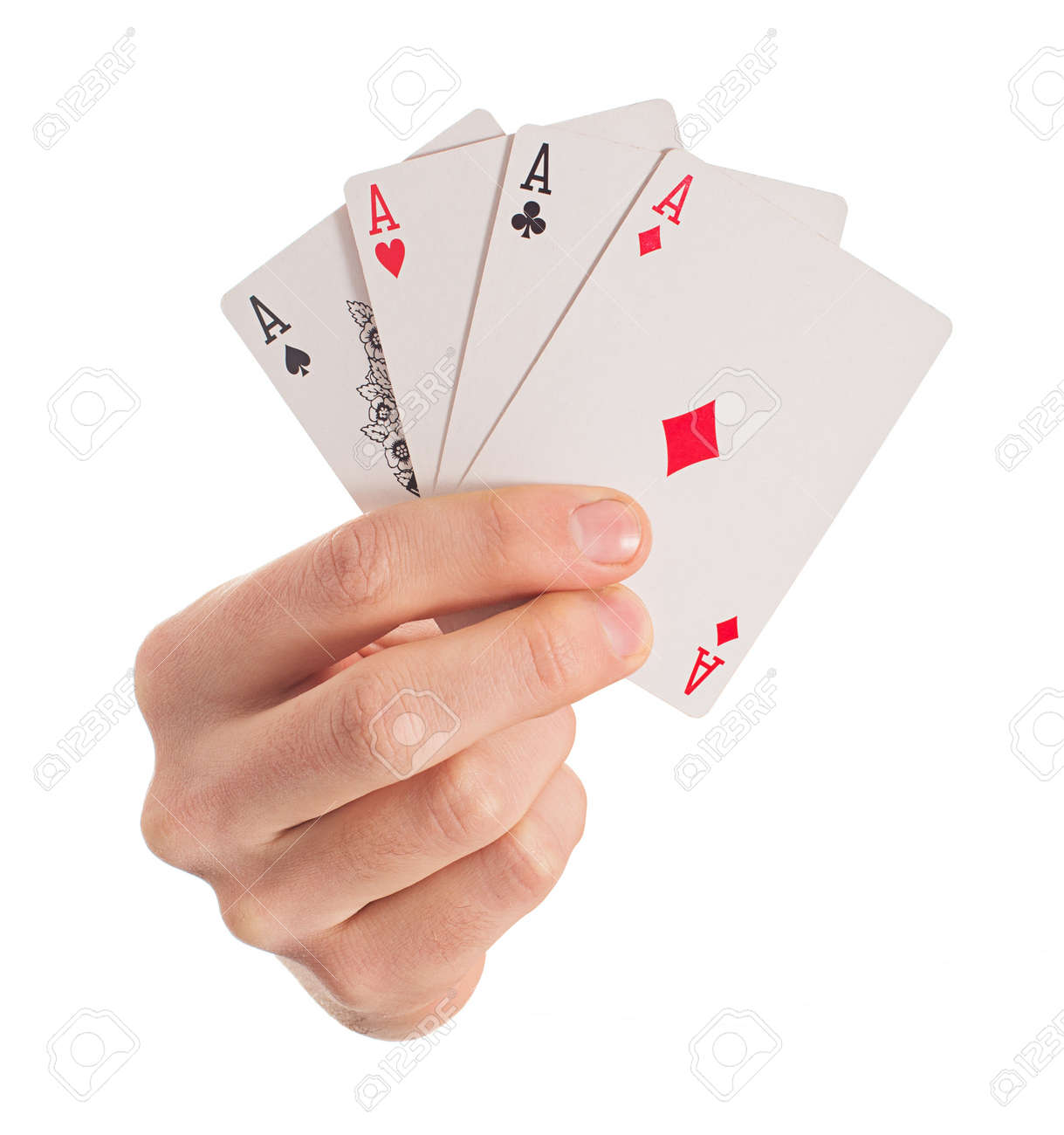 Close-up Of Hand Holding Four Aces On White Background - 22036796