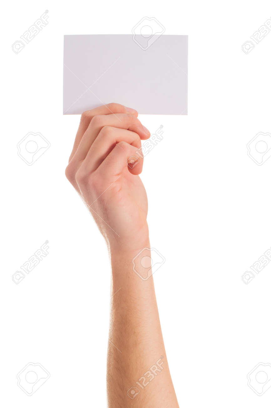 Close-up Of Hand Holding Placard On White Background - 22036712