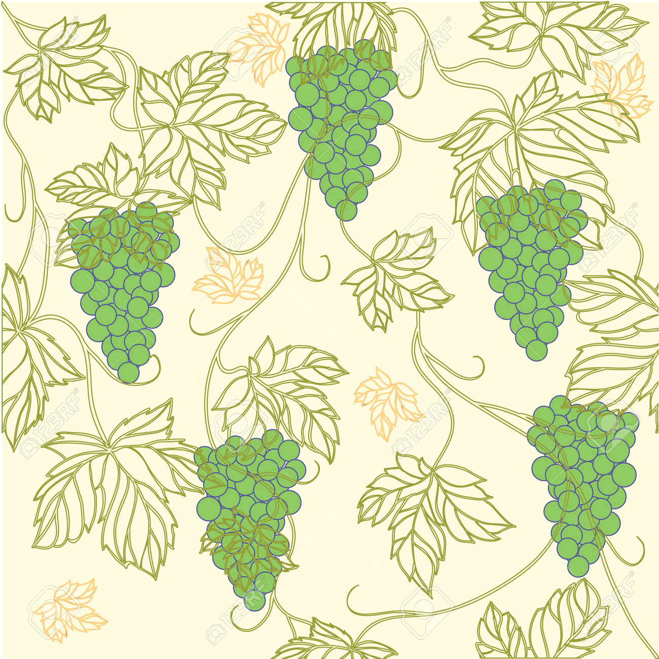 Seamless Wallpaper with floral ornament with leafs and grapes for vintage design,retro background Stock Vector - 8416854