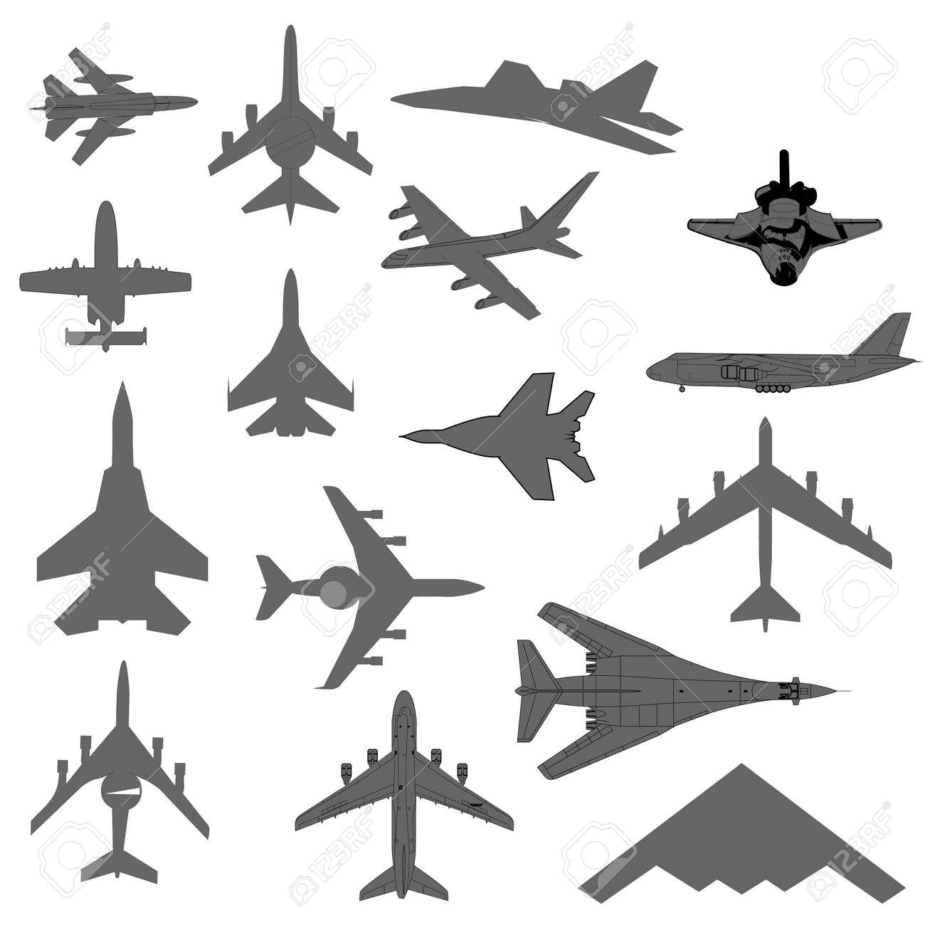 Vector Plane Silhouette Set Stock Vector 43175974 - Shutterstock