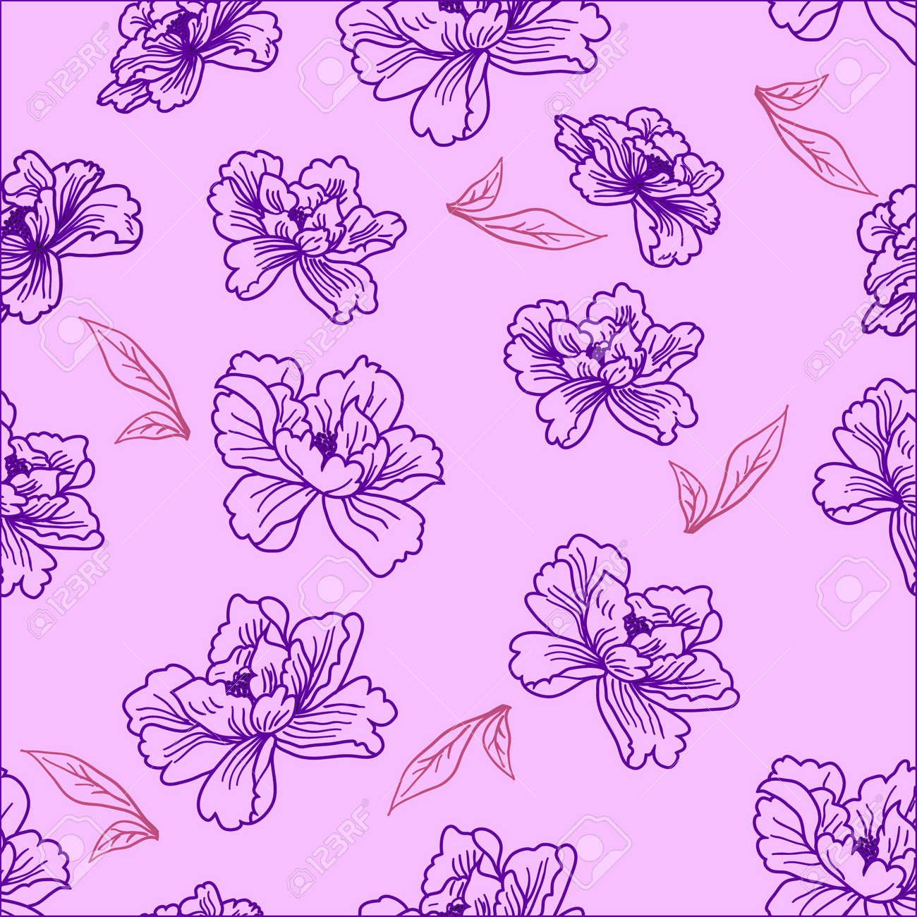 Seamless wallpaper  a seam with flower and leaves eps10 Stock Photo - 8519789