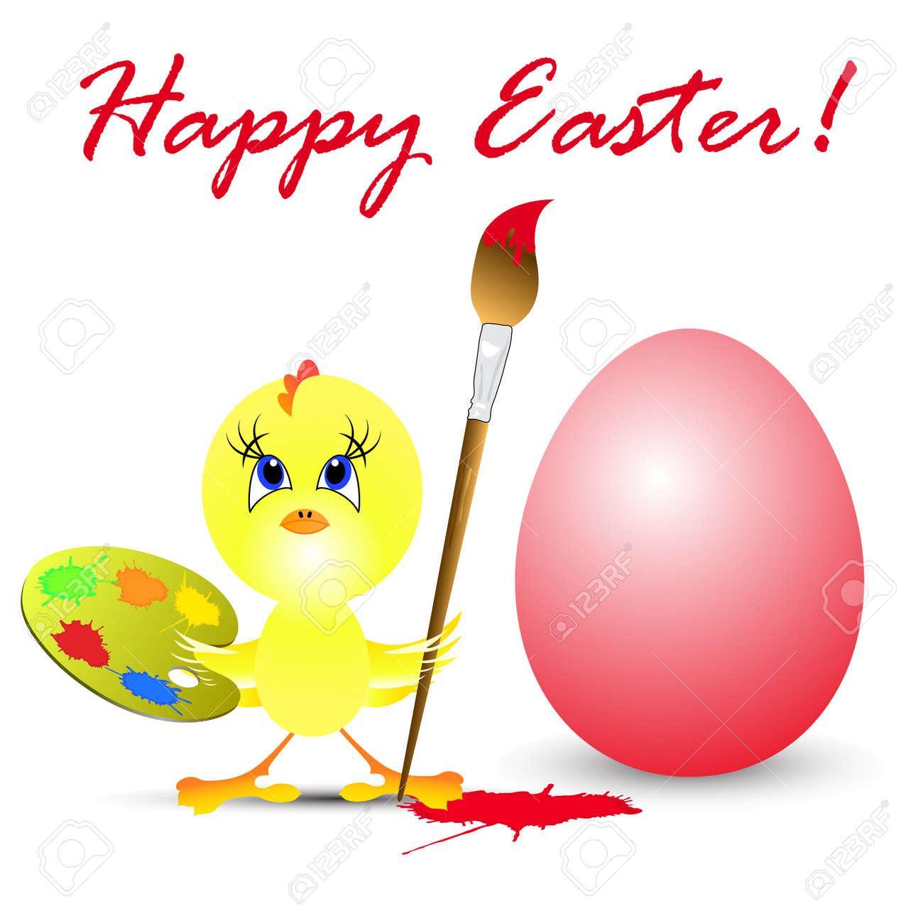 easter holiday illustration with chicken, isolated on white background Stock Vector - 8547211