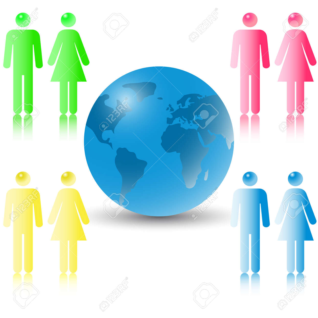 Businessmen, the man and the woman, meet to conclude the bargain on world globe. Stock Vector - 8841043