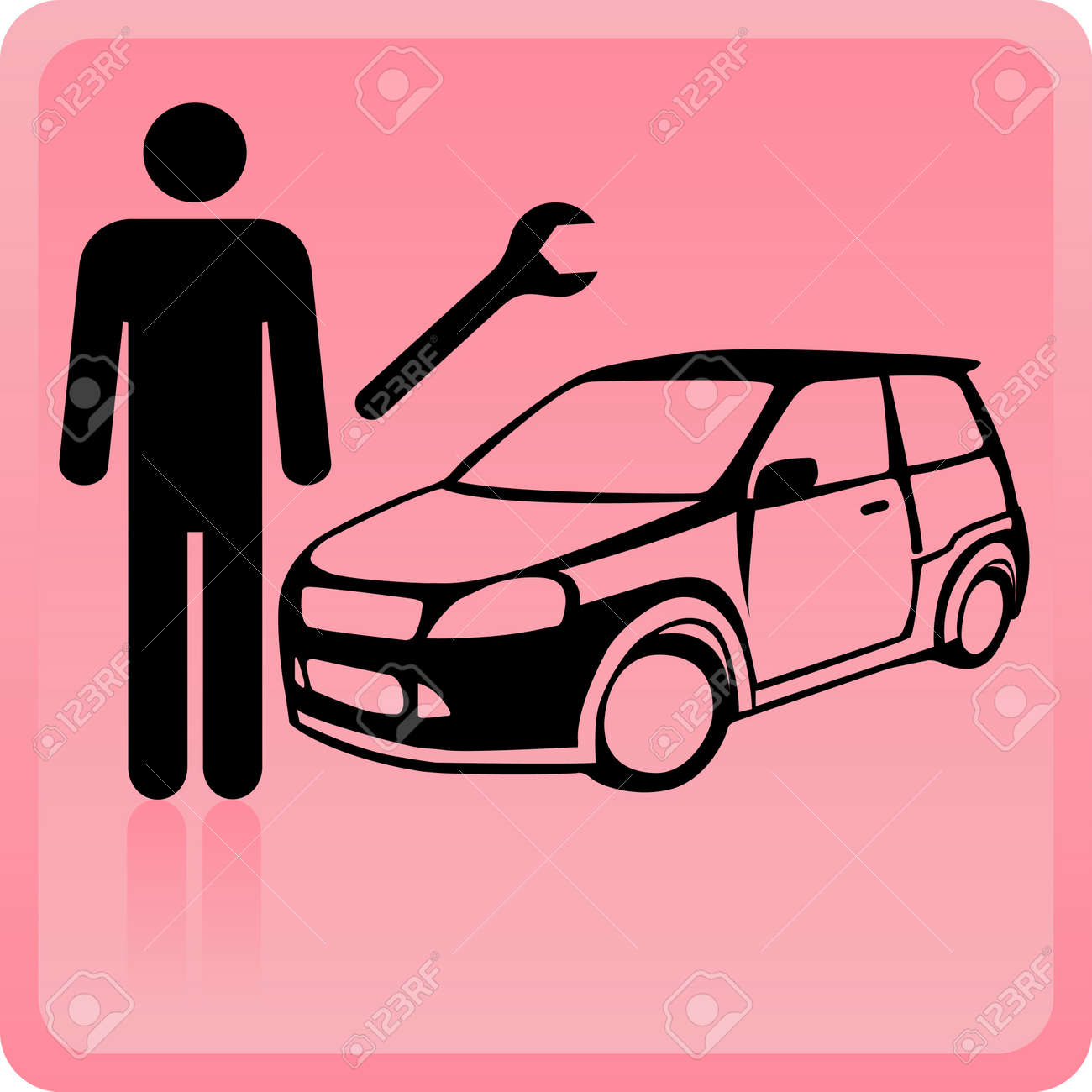 Icon of the motor mechanic near to the car with the tool Stock Vector - 8956524